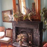 Parisian Courtyard Inn Fireplace